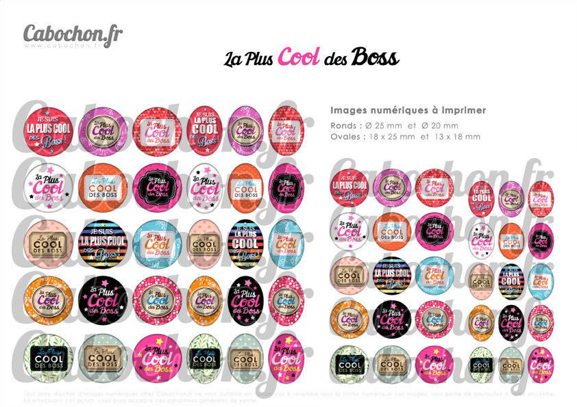 ☆ 60 Images Digitales / Numériques RONDES 25 et 20 mm et OVALES 18x25 et 13x18 mm ° La Plus Cool des Boss ° - Page d'images pour cabochons