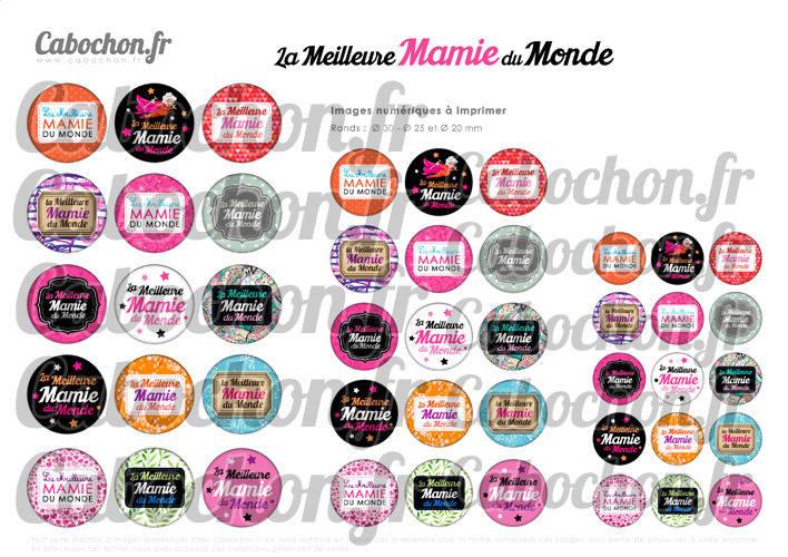 ☆ 45 Images Digitales / Numériques RONDES 30 25 et 20 mm ° La Meilleure Mamie du Monde ° - Page digitale de cabochons à imprimer