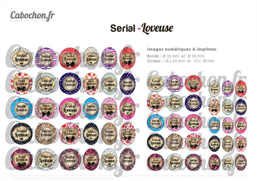 ☆ 60 Images Digitales / Numériques RONDES 25 et 20 mm et OVALES 18x25 et 13x18 mm ° Serial Loveuse ° - Page d'images pour cabochons