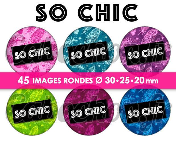 ☆ 45 Images Digitales / Numériques RONDES 30 25 et 20 mm ° So Chic ° - Page digitale de cabochons à imprimer