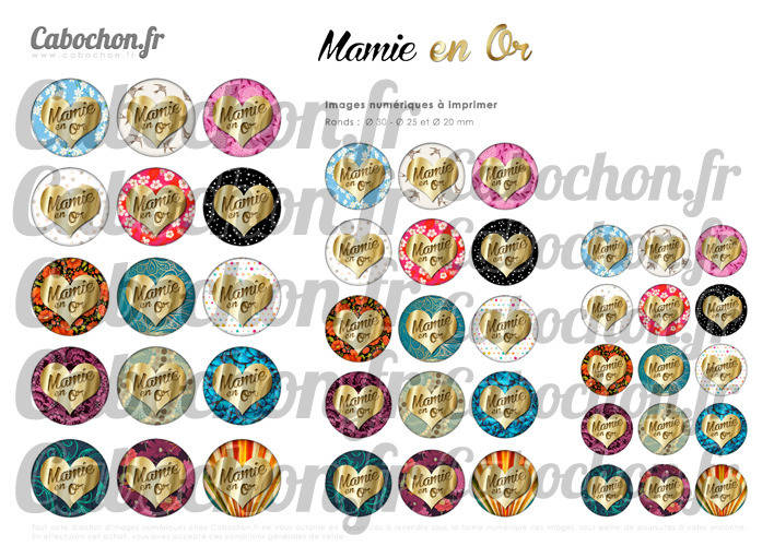 ☆ 45 Images Digitales / Numériques RONDES 30 25 et 20 mm ° Mamie en Or ° - Page digitale de cabochons à imprimer