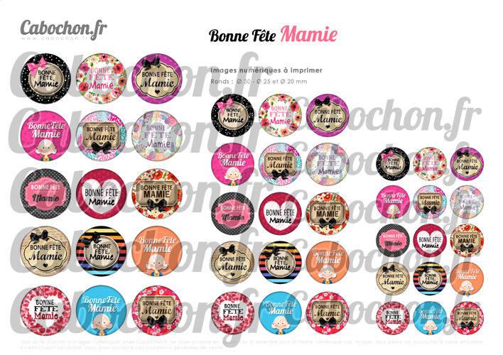 ☆ 45 Images Digitales / Numériques RONDES 30 25 et 20 mm ° Bonne Fête Mamie ll ° - Page digitale de cabochons à imprimer