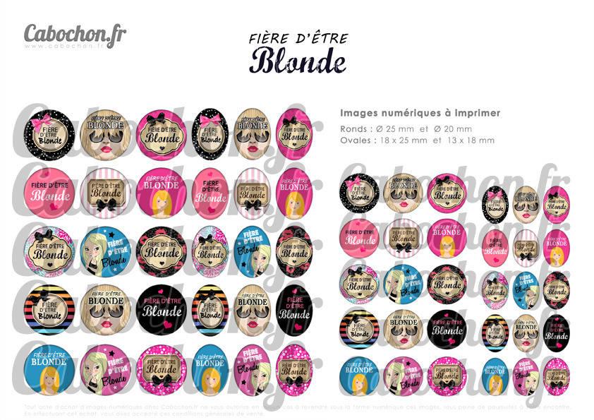 ☆ 60 Images Digitales / Numériques RONDES 25 et 20 mm et OVALES 18x25 et 13x18 mm ° Fière d'être Blonde ° - Page d'images pour cabochons à imprimer