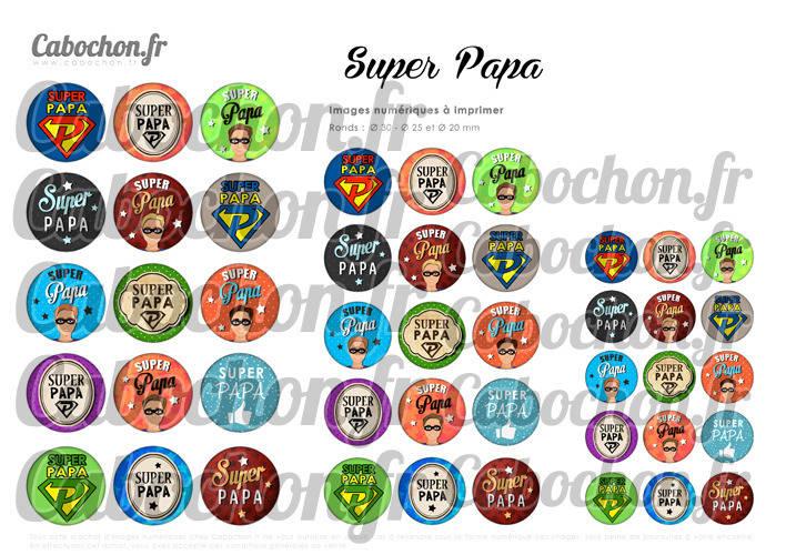 ☆ 45 Images Digitales / Numériques RONDES 30 25 et 20 mm ° Super Papa ° - Page digitale de cabochons à imprimer