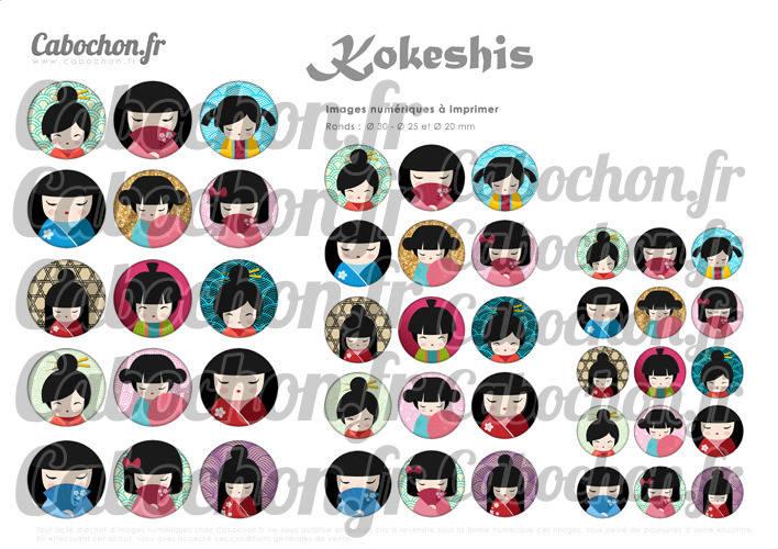 ☆ 45 Images Digitales / Numériques RONDES 30 25 et 20 mm ° Kokeshis ll ° - Page digitale de cabochons à imprimer