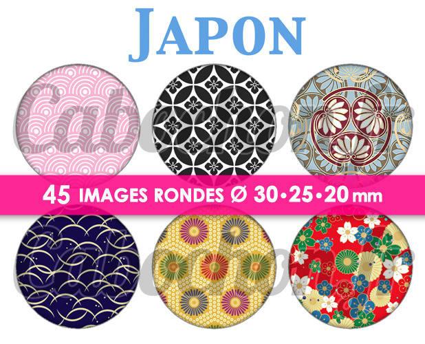 ☆ 45 Images Digitales / Numériques RONDES 30 25 et 20 mm ° Japon lV ° - Page digitale de cabochons à imprimer