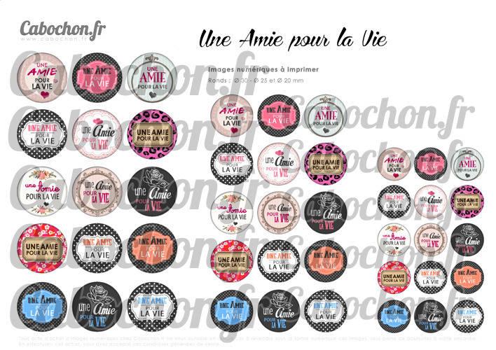 ☆ 45 Images Digitales / Numériques RONDES 30 25 et 20 mm ° Une Amie pour la Vie ° - Page digitale de cabochons à imprimer