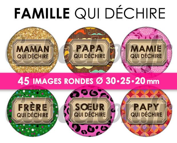 ☆ 45 Images Digitales / Numériques RONDES 30 25 et 20 mm ° Famille qui déchire lV ° - Page digitale de cabochons à imprimer