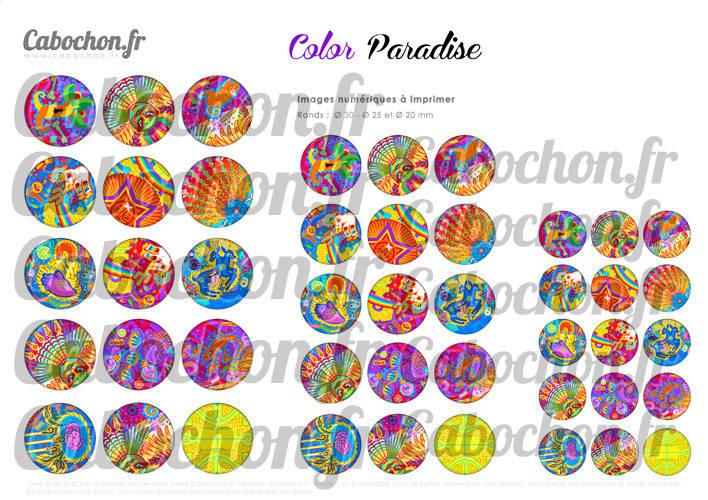 ☆ 45 Images Numériques RONDES 30 25 et 20 mm ° Color Paradise ° - Page de collage digital pour cabochons
