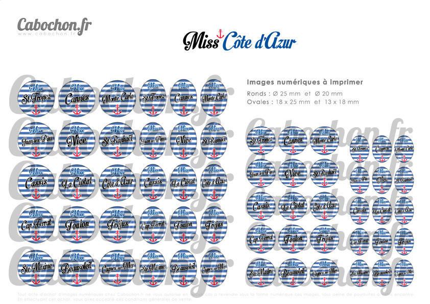 ☆ 60 Images Numériques RONDES 25 et 20 mm et OVALES 18x25 et 18x13 mm ° Miss Côte d'Azur ll ° - Page de collage digital pour cabochons