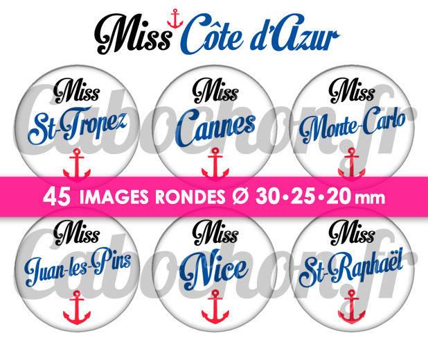 ☆ 45 Images Numériques RONDES 30 25 et 20 mm° Miss Côte d'Azur ° - Page de collage digital pour cabochons