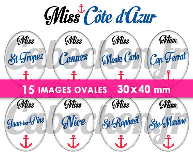 ☆ 15 Images Numériques OVALES 30x40 mm ° Miss Côte d'Azur ° - Page de collage digital pour cabochons