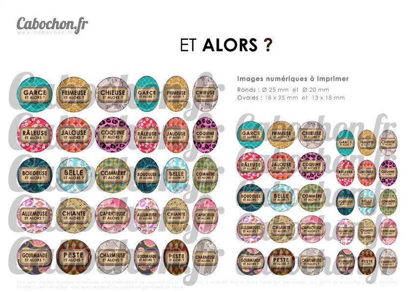 ☆ 60 Images Numériques RONDES 25 et 20 mm et OVALES 18x25 et 18x13 mm ° Et Alors ? ° - Page de collage digital pour cabochons