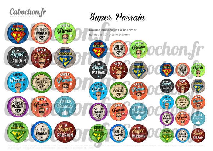☆ 45 Images Numériques RONDES 30 25 et 20 mm ° Super Parrain ° - Page de collage digital pour cabochons