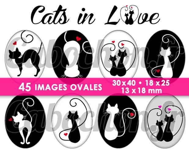☆ 45 Images Numériques OVALES 30x40 18x25 et 13x18 mm ° Cats in Love ll ° Page de collage digital pour cabochons