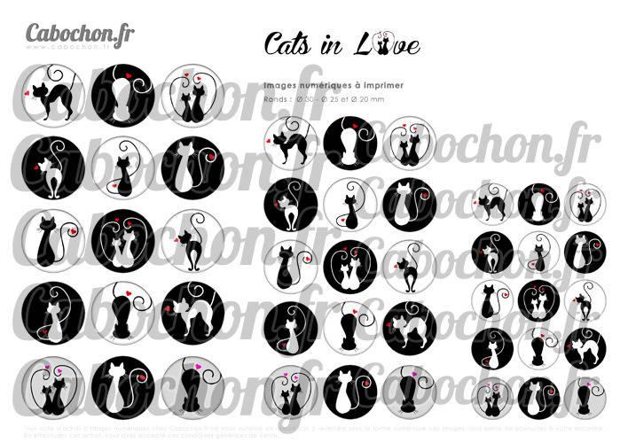 ☆ 45 Images Numériques RONDES 30 25 et 20 mm ° Cats in Love ll ° - Page de collage digital pour cabochons