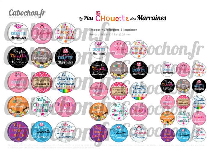 ☆ 45 Images Numériques RONDES 30 25 et 20 mm ° La Plus Chouette des Marraines ° - Page de collage digital pour cabochons
