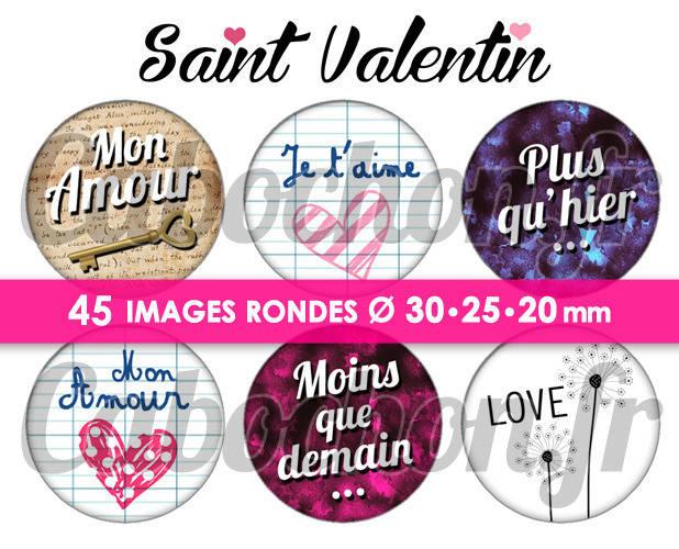 ☆ 45 Images Numériques RONDES 30 25 et 20 mm ° Saint Valentin V ° - Page de collage digital pour cabochons