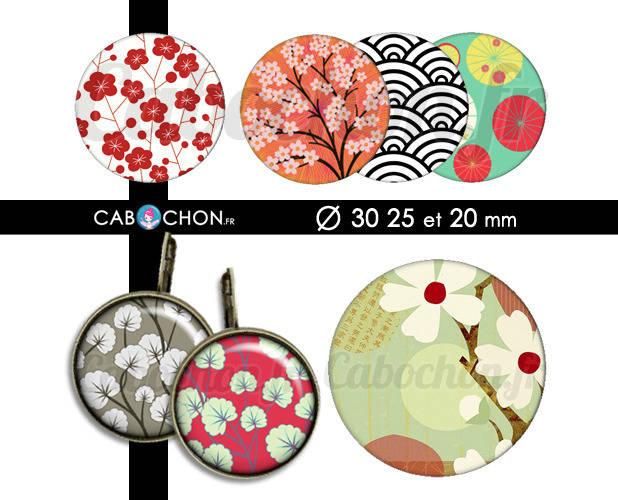 Japon ☆ 45 Images Digitales RONDES 30 25 et 20 mm japan washi motif sakura page cabochon cabochons bijoux
