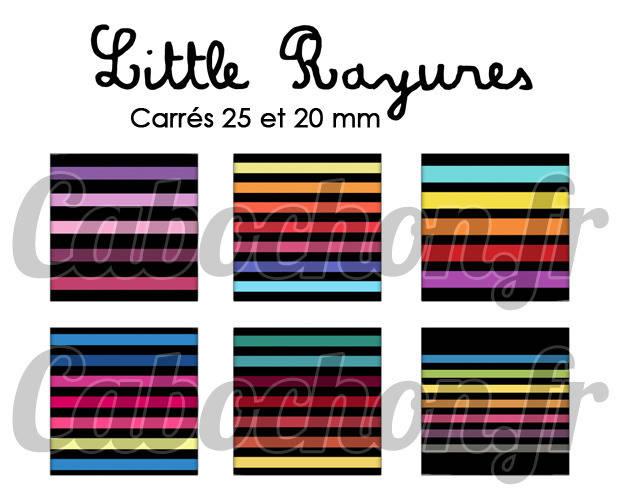 ° Little Rayures ° - Page digitale pour cabochons - 30 images numériques à imprimer