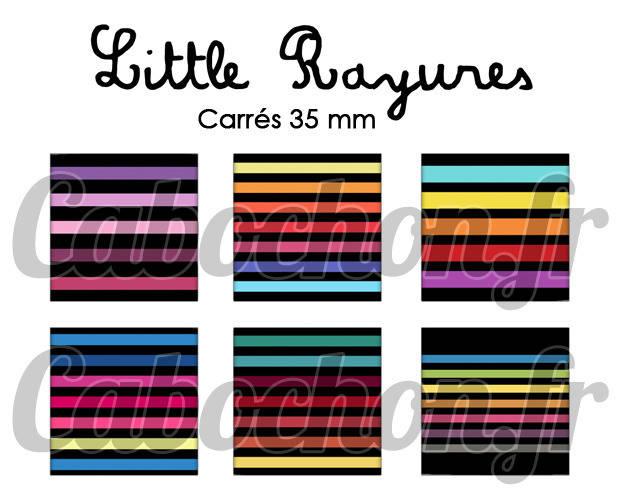 ° Little Rayures ° - Page digitale pour cabochons - 15 images numériques à imprimer