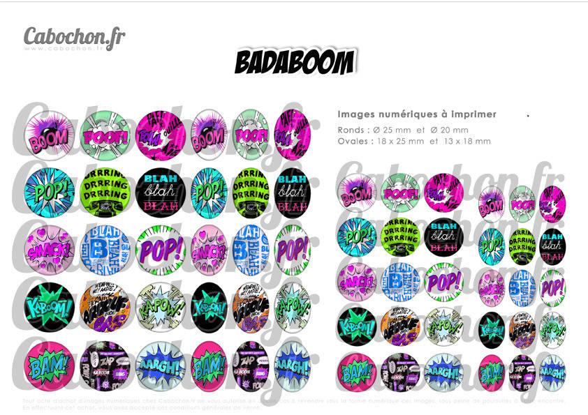 Badaboom ll ☆ 60 Images Digitales RONDES 25 et 20 mm OVALES 18x25 et 13x18 mm boum paf dring blah page cabochons cabochon bijoux