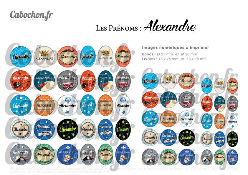 ° Les Prénoms : Alexandre ° - Page de collage digital cabochons - 60 images à imprimer