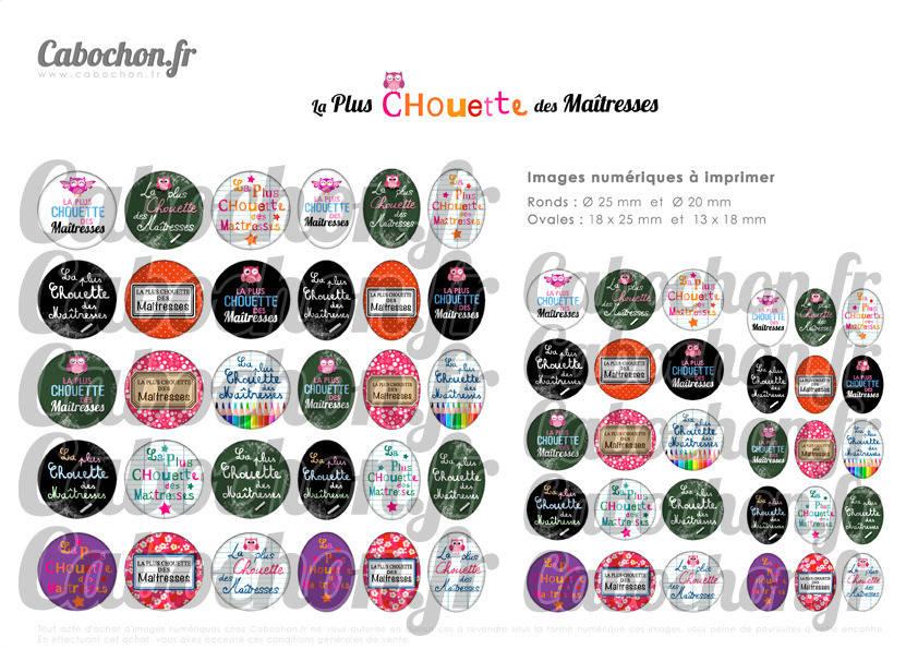 La Plus Chouette des Maîtresses - Maîtresse ☆ 60 Images Digitales Numériques RONDES 25 et 20 mm et OVALES 18x25 et 13x18 mm Page d'images pour