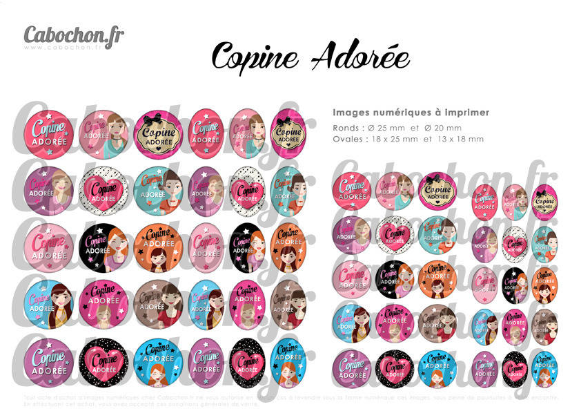 ° Copine Adorée ° - Page de collage digital cabochons - 60 images numériques à imprimer