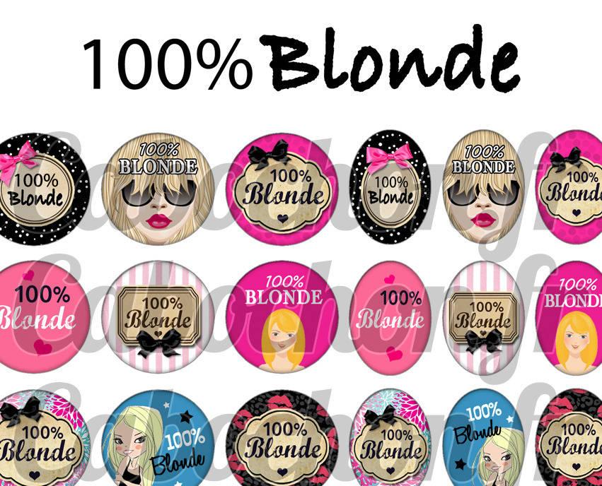 ° 100% Blonde ° - Planche numérique pour cabochons - 60 images numériques à imprimer