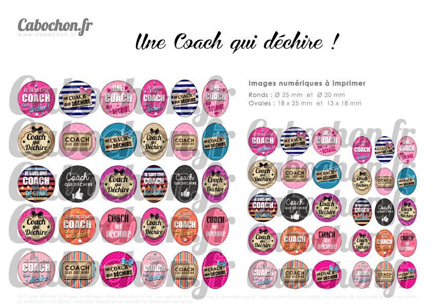 ° Une Coach qui déchire ! °  - Page digitale pour cabochons - 60 images numériques à imprimer