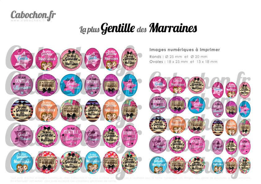 ° La Plus Gentille des Marraines ° - Page digitale pour cabochons - 60 images numériques à imprimer