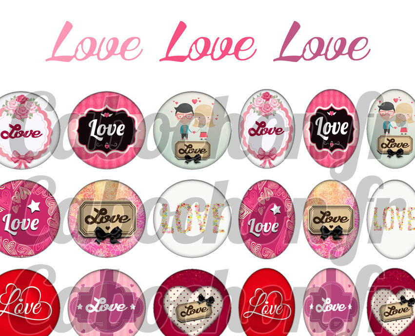 ° Love Love Love ° - Page digitale pour cabochons - 60 images numériques à imprimer