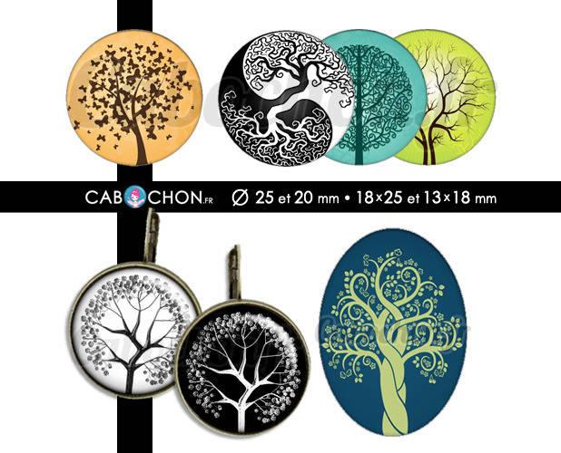 Les Arbres ☆ 60 Images Digitales RONDES 25 et 20 mm OVALES 18x25 et 13x18 mm vie arbre ying klimt nature branche vert