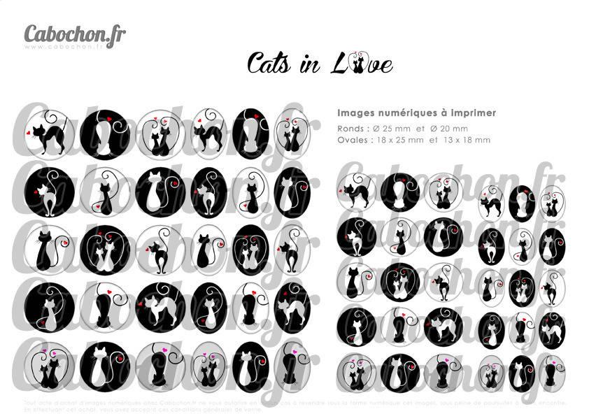 ° Cats in Love ll ° - Page digitale pour cabochons - 60 images numériques à imprimer