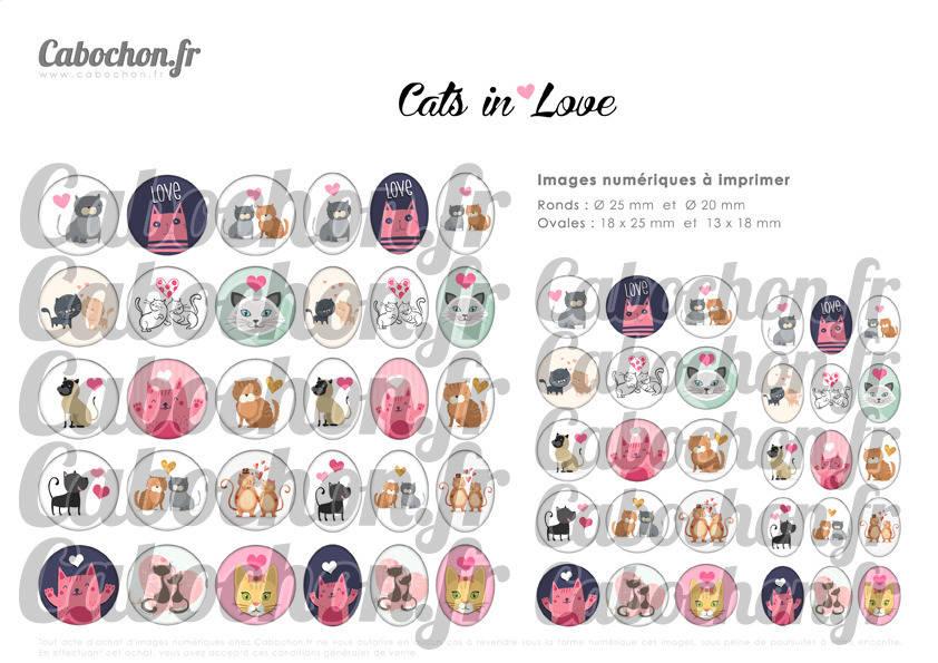 ° Cats in Love ° - Page digitale pour cabochons - 60 images numériques à imprimer