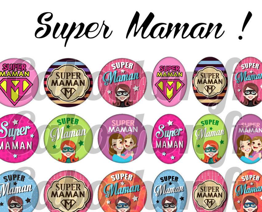 ° Super Maman ll ° - Page digitale pour cabochons - 60 images numériques à imprimer