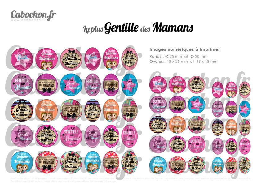 ° La Plus Gentille des Mamans ° - Page digitale pour cabochons - 60 images numériques à imprimer