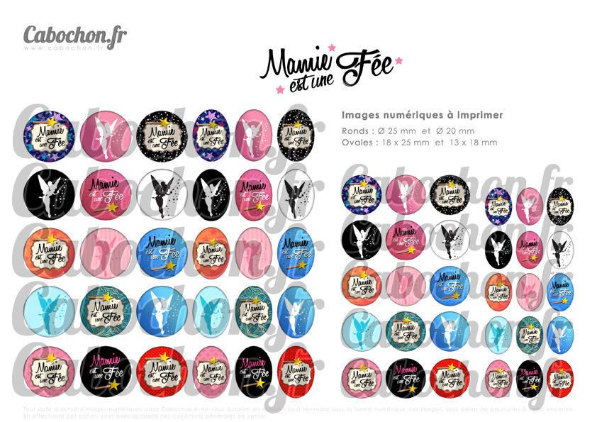 ° Mamie est une Fée ° - Page digitale pour cabochons - 60 images numériques à imprimer
