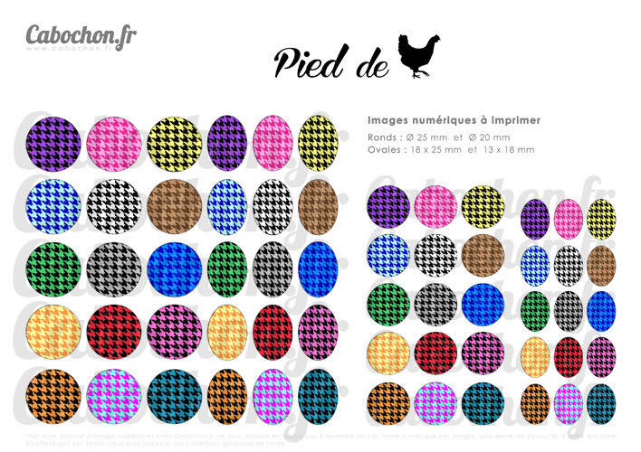 Pied de Poule ☆ 60 Images Digitales RONDES 25 et 20 mm OVALES 18x25 et 13x18 mm tissu motif retro chanel coco page cabochon