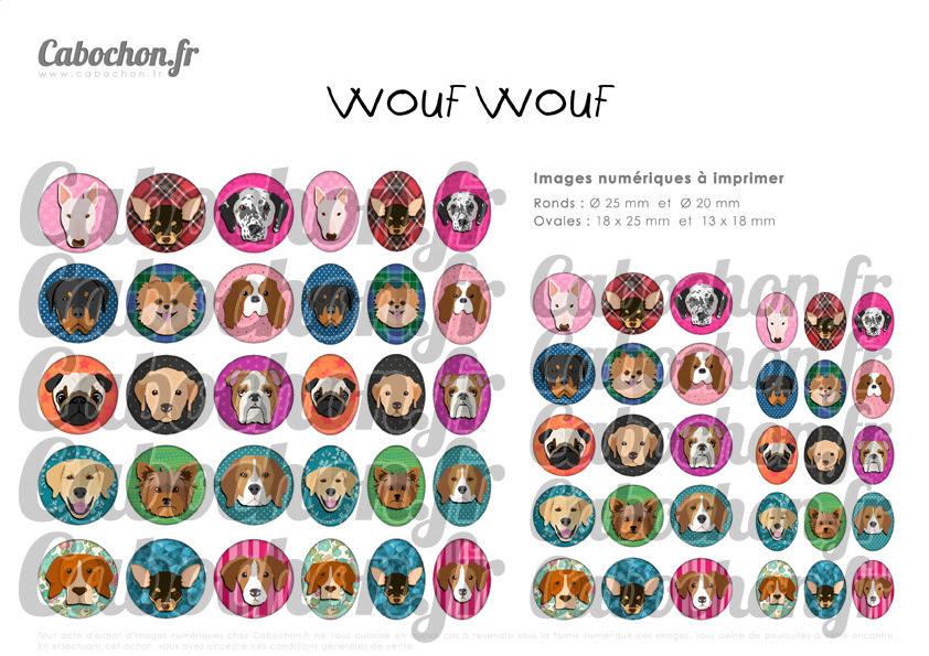 ° Wouf Wouf ° - Page de collage digital cabochons - 60 images numériques à imprimer