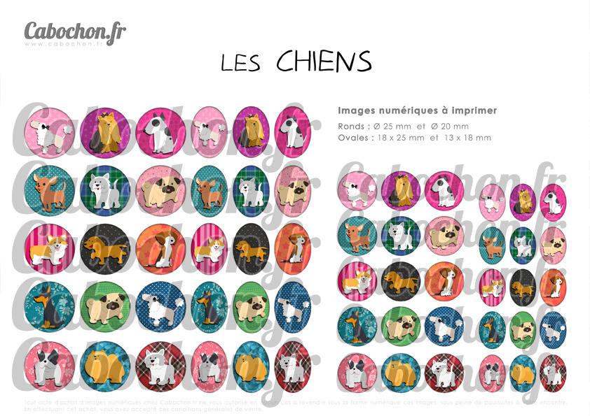 ° Les Chiens ° - Page de collage digital cabochons - 60 images numériques à imprimer