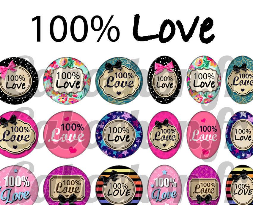 ° 100% LOVE ° - Page digitale pour cabochons - 60 images numériques à imprimer