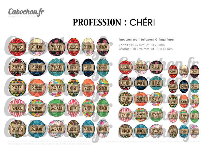 PROFESSION Chéri ☆ 60 Images Digitales RONDES 25 et 20 mm et OVALES 18x25 et 13x18 mm amour homme geek genial cool Page cabochon