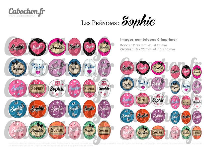 ° Les Prénoms : Sophie ° - Page de collage digital cabochons - 60 images à imprimer