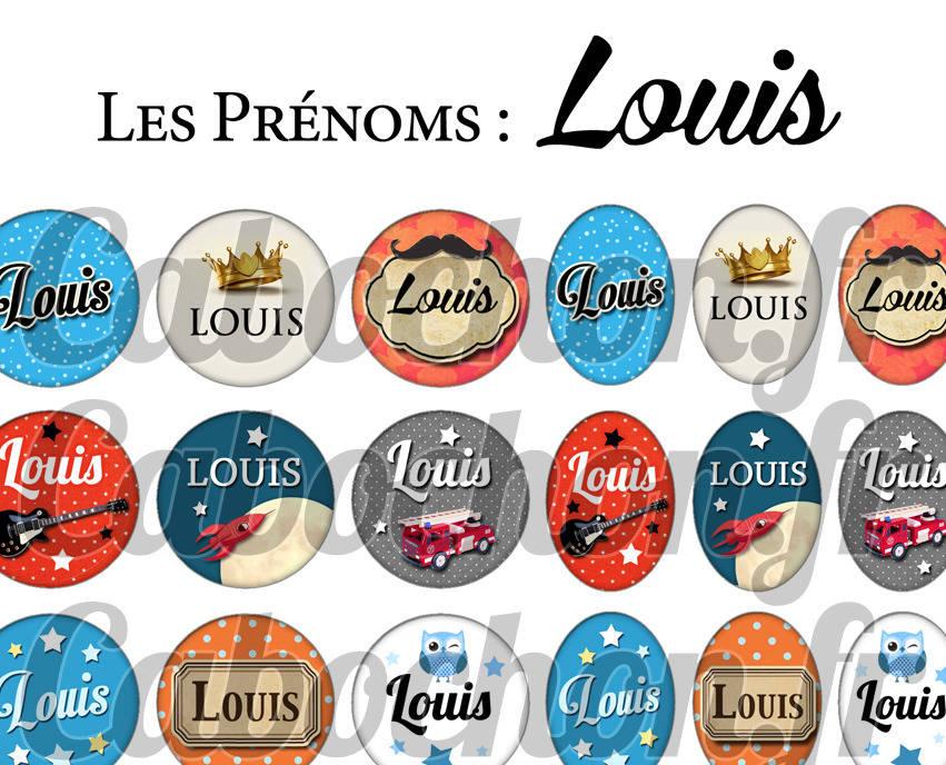 ° Les Prénoms : Louis ° - Page de collage digital cabochons - 60 images à imprimer