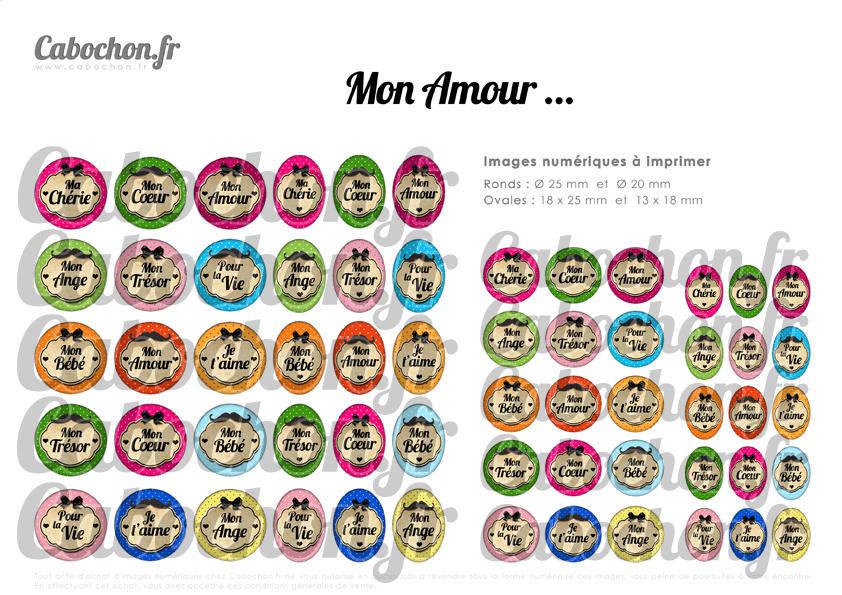 ° Mon Amour ... ° - Page digitale pour cabochons - 60 images numériques à imprimer