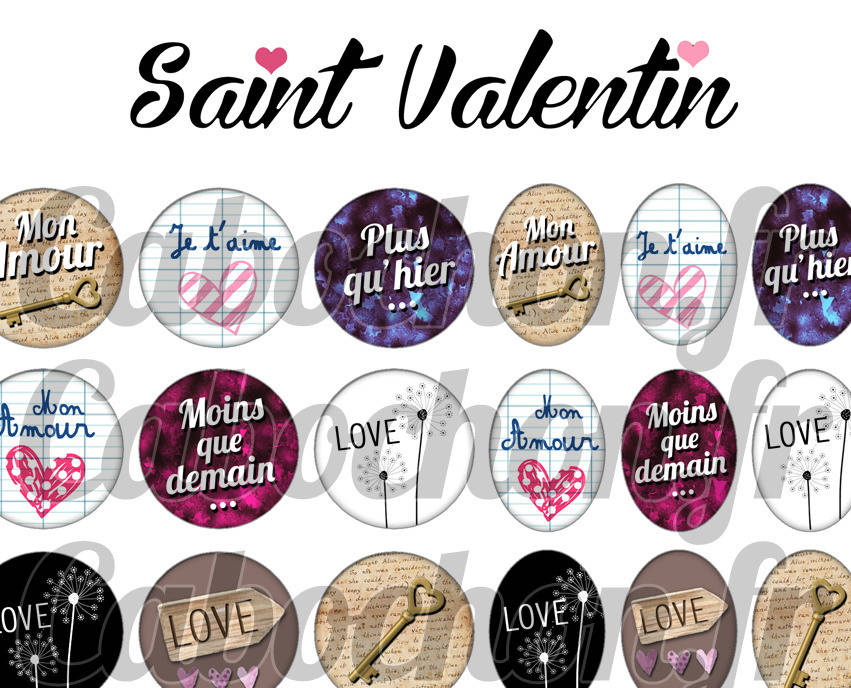 ° Saint Valentin V ° - Page digitale pour cabochons - 60 images numériques à imprimer