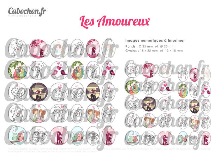 ° Les Amoureux ° - Page digitale pour cabochons - 60 images numériques à imprimer