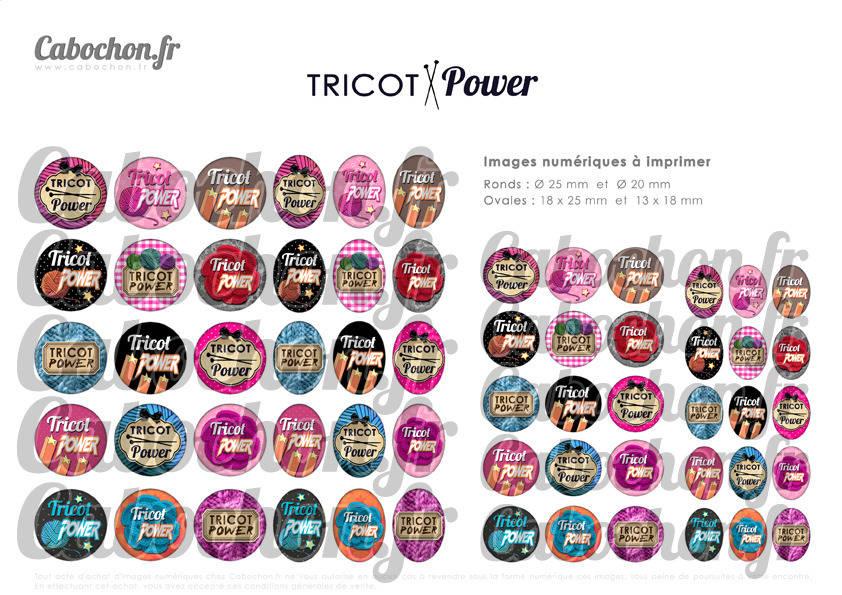 ° Tricot POWER ° - Page digitale pour cabochons - 60 images numériques  à imprimer